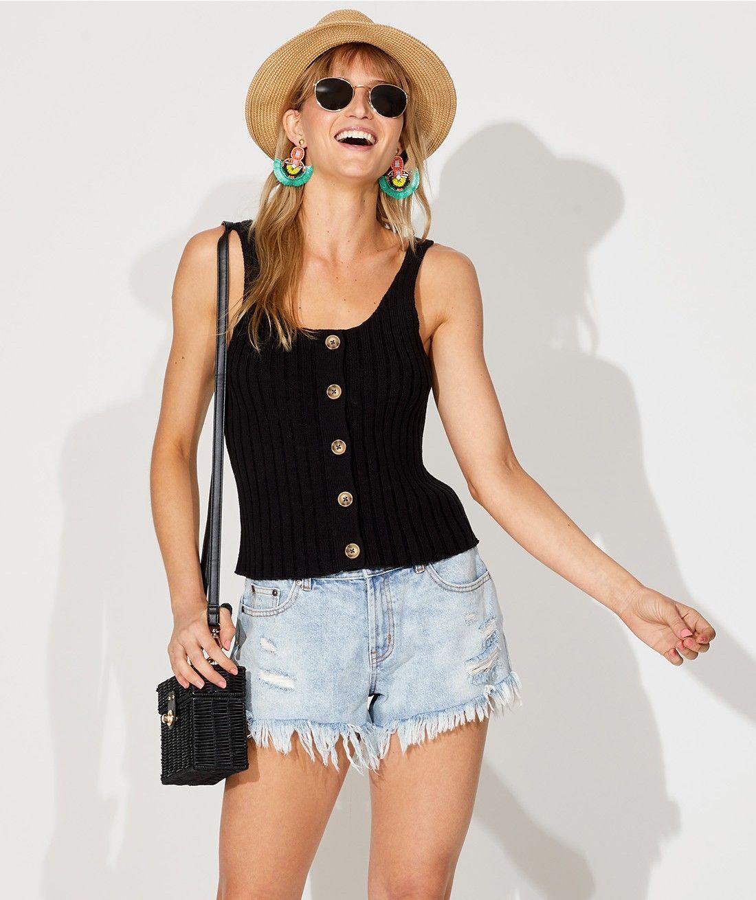 18eccabe9d Knitwear - Button Front Tank - Clothing - Sportsgirl   Clothes ...
