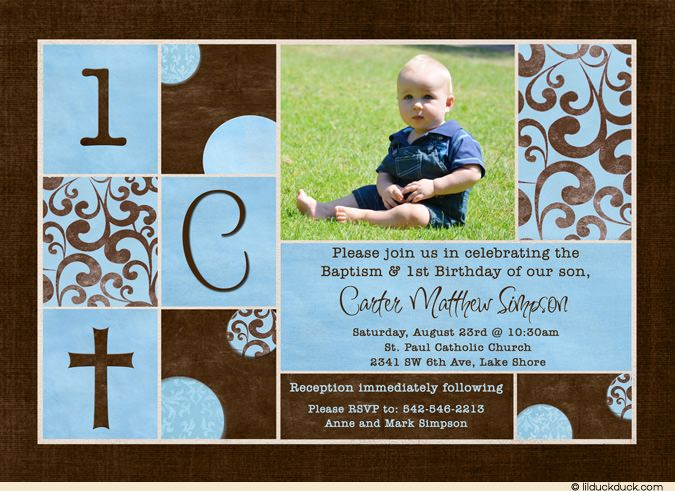 e77a33acd7bab6552e0065b5eb11b30a blue baptism birthday invitation chic brown photos special day,1st Birthday Christening Invitations