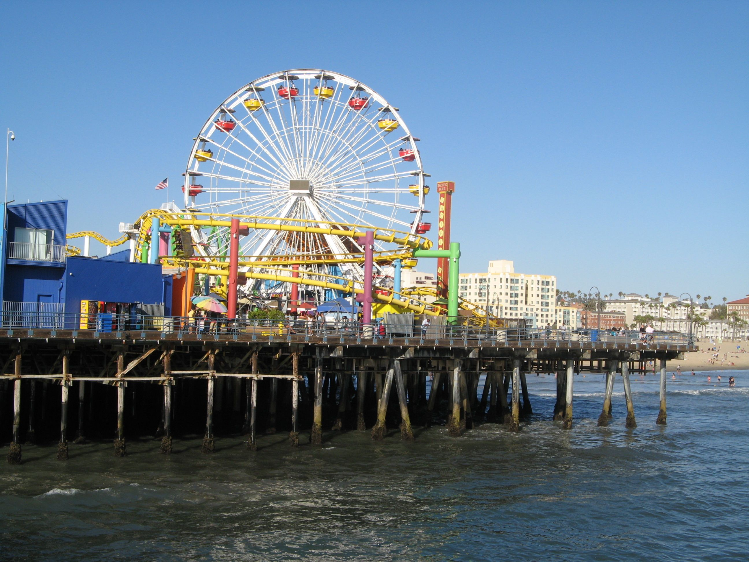 There is a Ferris Wheel on the pier