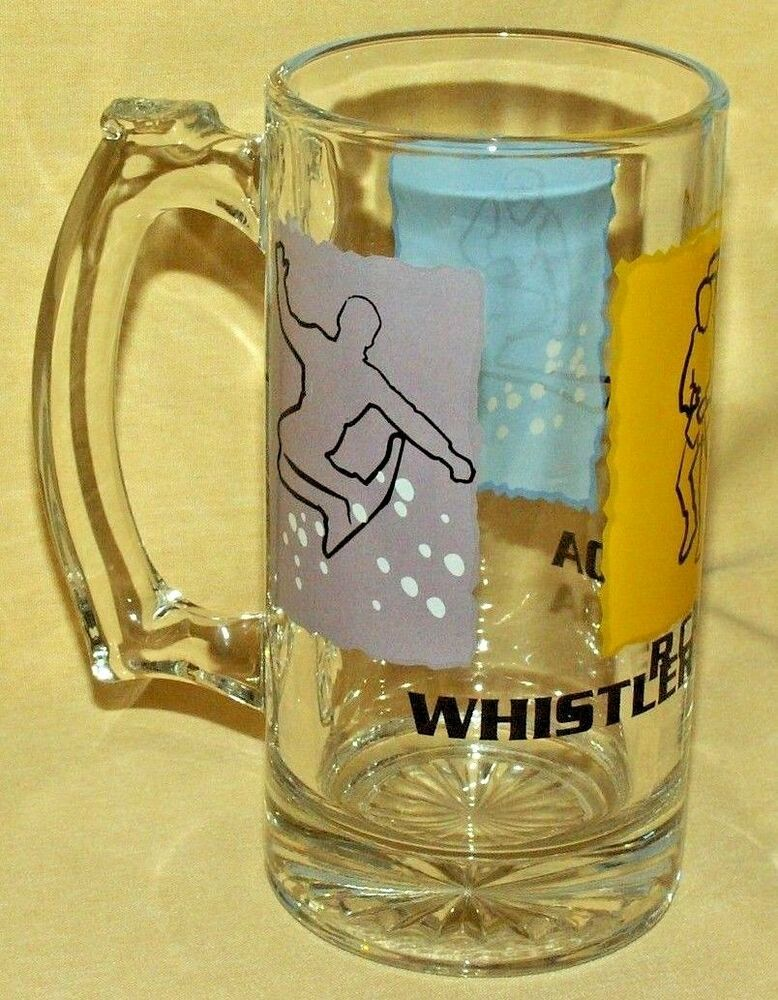 WHISTLER CANADA MUG GLASS BEER STEIN CUP HIKING SKIING