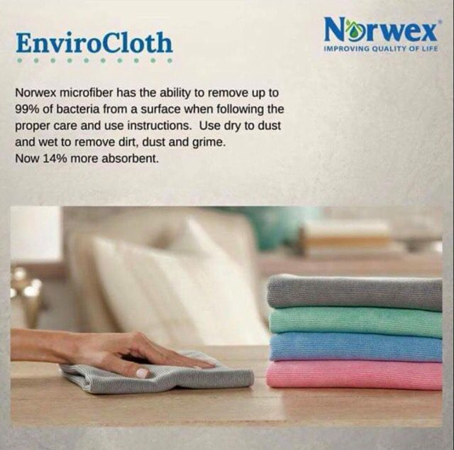 Green Kitchen Kirkman: New & Improved Norwex Enviro Cloth Now 14% More Absorbent And Removes 99% Of Bacteria From