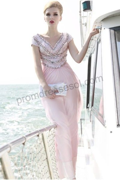 857e756a Aegean Sea pink cap-sleeve v-neck floor-length sequined tencel  evening/bridesmaid dress(80638) dont know if i like the back.