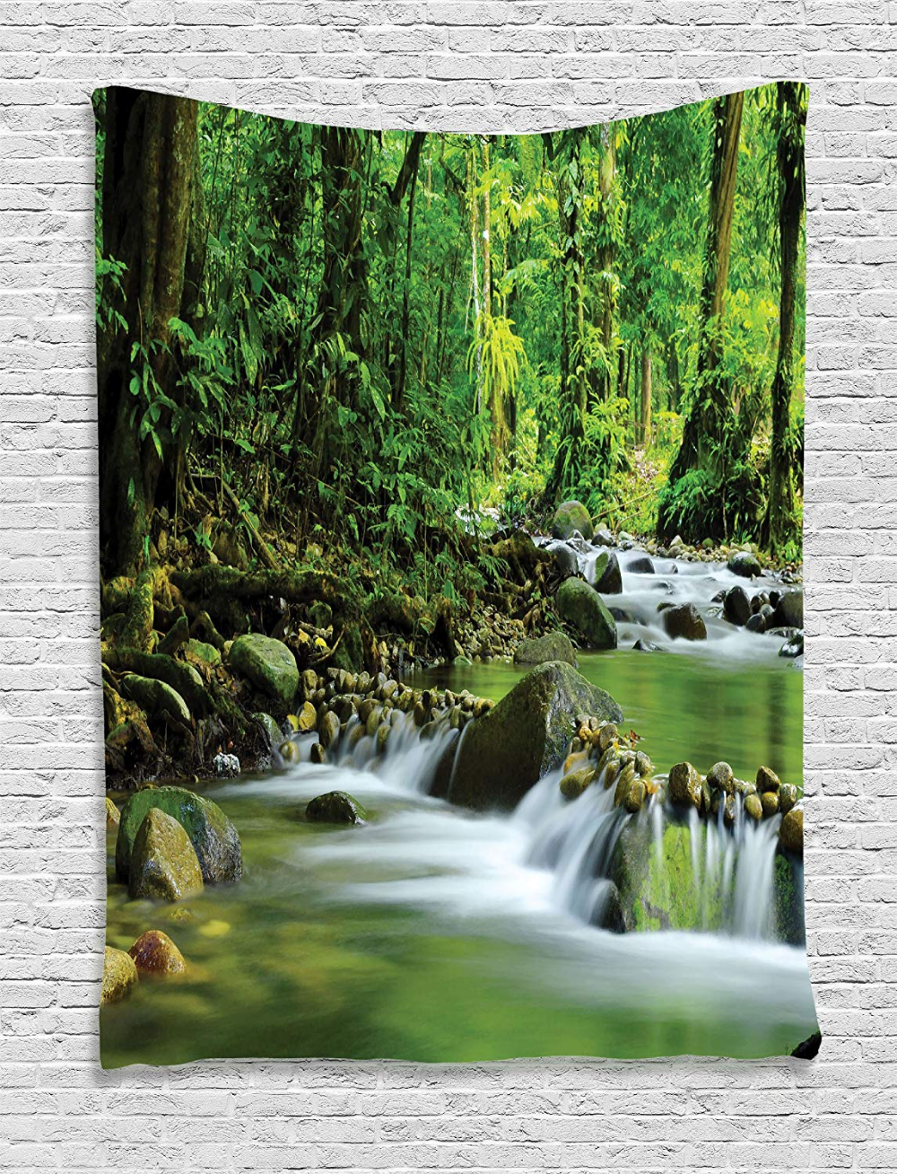 Amazon Com Ambesonne Rainforest Decorations Tapestry Mountain Stream In A Tropical Rain Forest