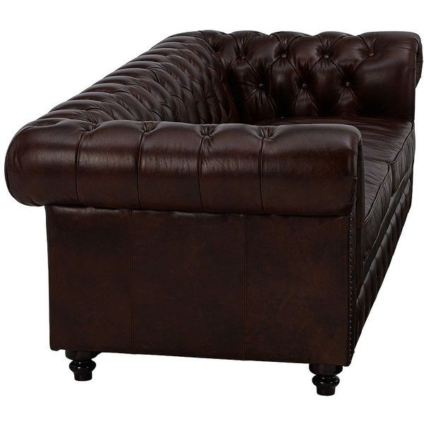 Kensington Hill Chesterfield Tufted Brown Leather Sofa 2 480 Cad Liked On Polyvore Featuring