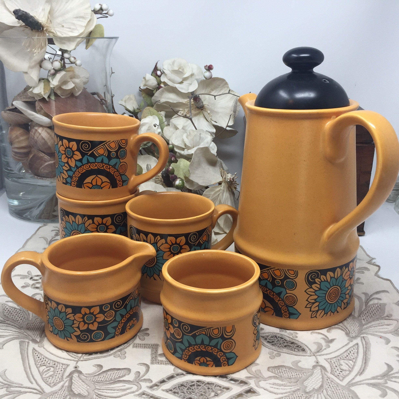 MidCentury Vintage Boho Retro Mod Flower Power Sadler Coffee Server English Pottery Yellow-Orange and Aqua-- Very Cool #coffeeserver