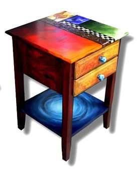 Artistic And Functional Hand Painted Furniture Enhanced With Copper