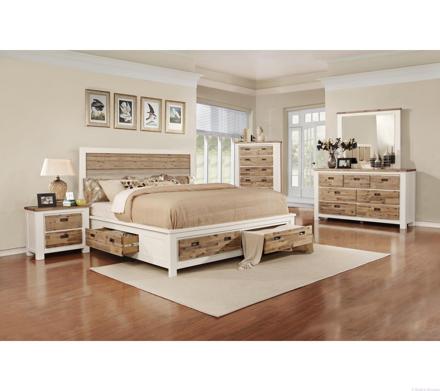 Meridien White Timber Bed With Four Drawer Storage