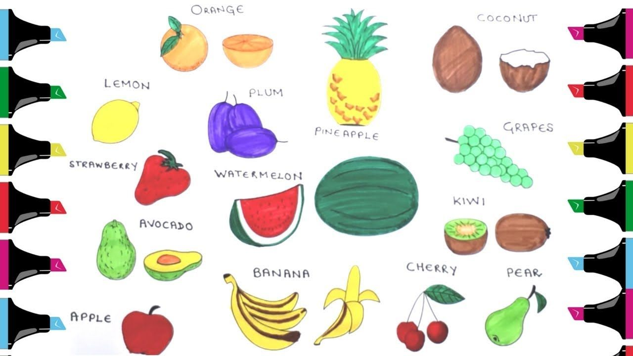 Coloring Pages for Kids with Fruits & Names #kids #fruit # ...