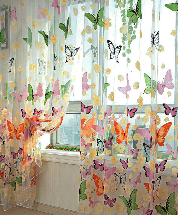 Colorful Butterfly Sheer Curtains Voile Sheer Panels With Colorful Butterfly Prints Made To Order Custom Size Available Curtains Living Room Drapes Curtains Curtains