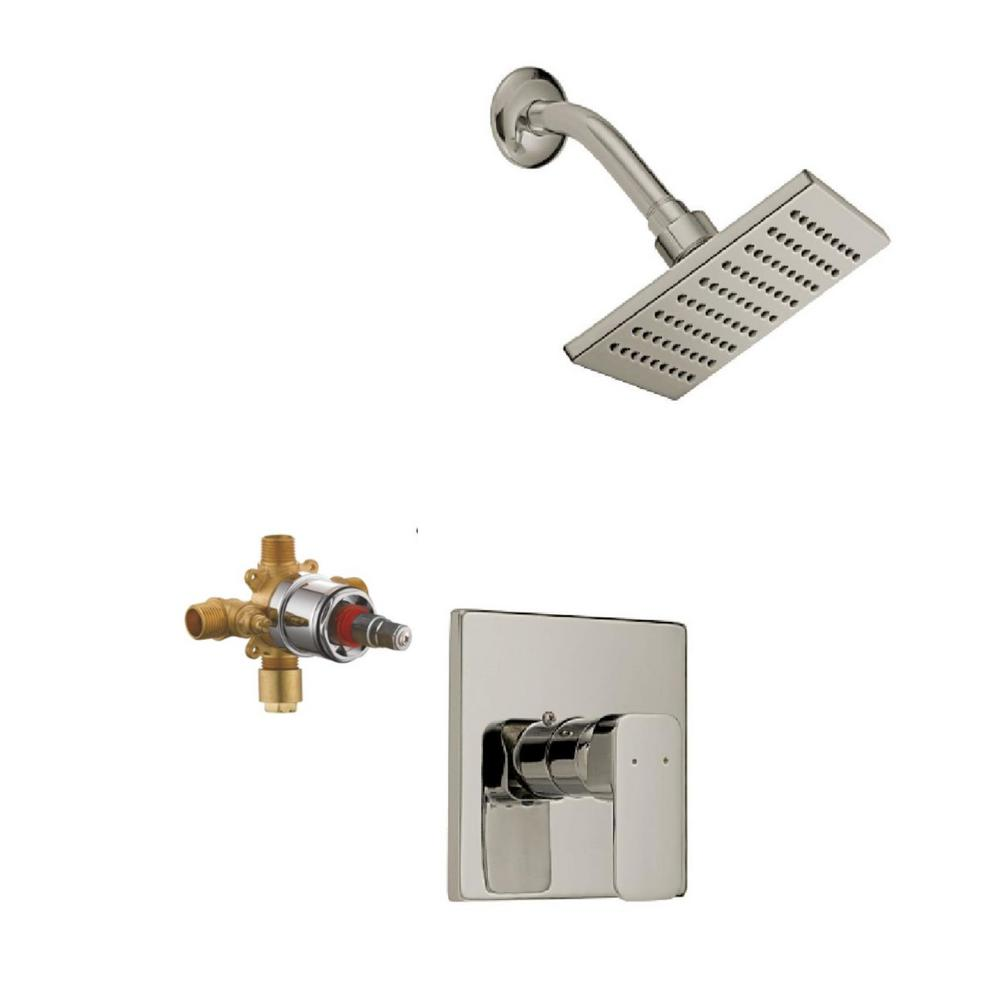 Design House Karsen Single Handle 1 Spray Tub And Shower Faucet Trim Kit In Satin Nickel Valve Included 547729 The Home Depot Tub And Shower Faucets Shower Faucet Shower Tub Shower trim kit with valve