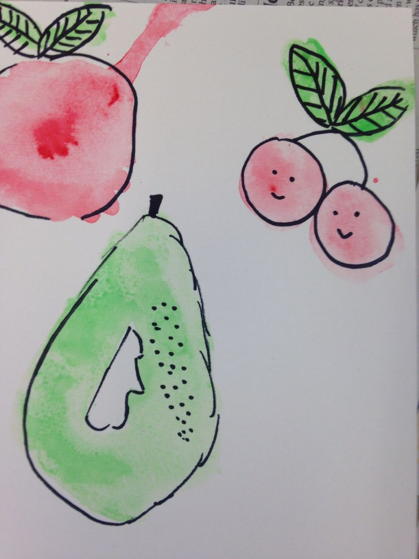 Watercolour and pen fruit