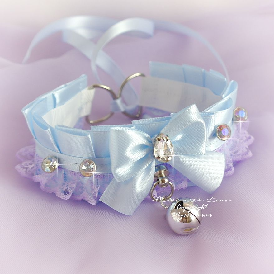 Choker Necklace , Kitten Play Collar Blue Satin Purple Lavender Lace Bow Bell Bling Rhinestone DDLG Daddys Girl Kawaii pastel Goth Jewelry