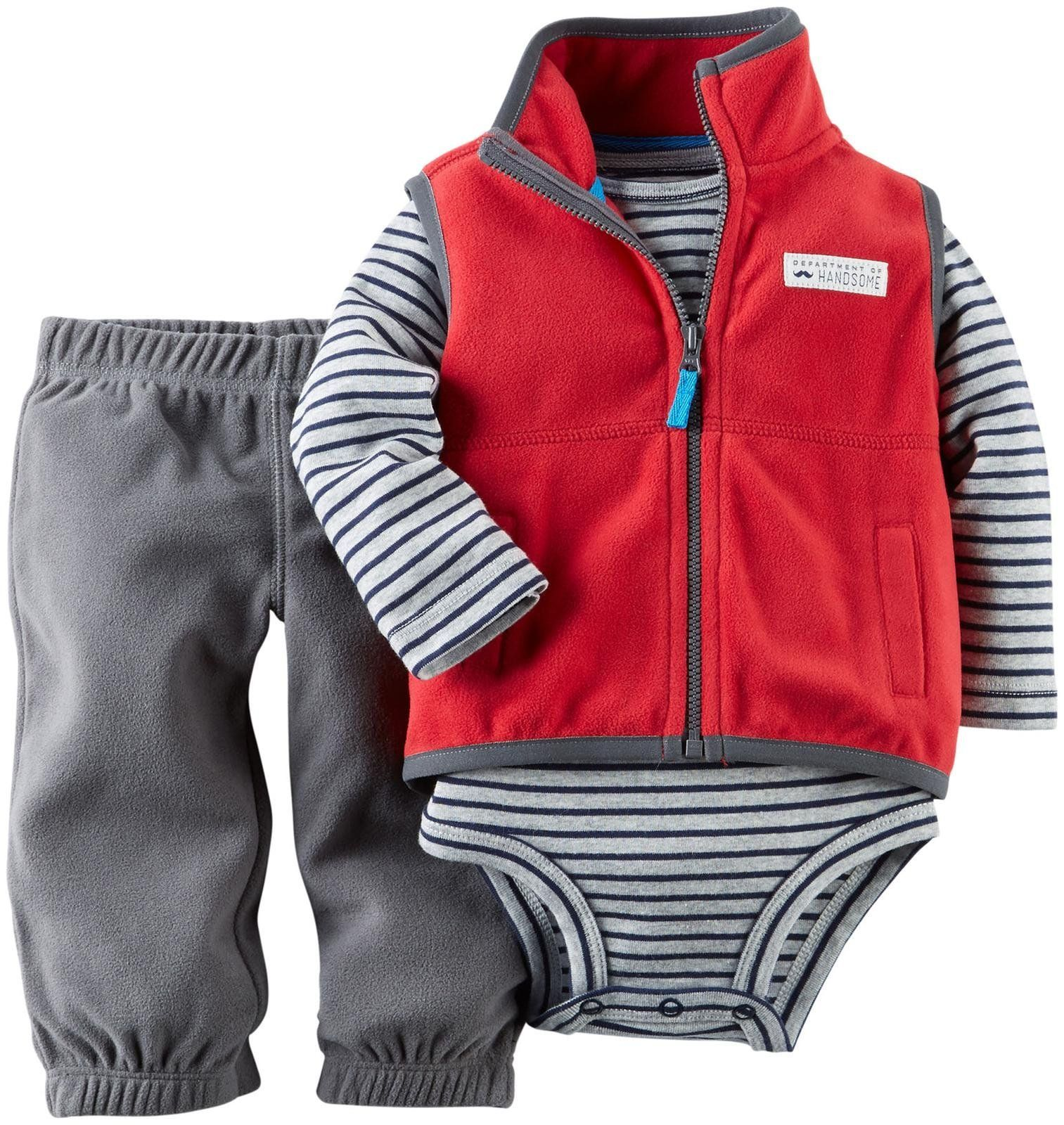 Toddler Boy Carter's® 2 piece set features a sports print layered look top with a crew neck, long sleeves and a chest pocket. Set also includes a pair of elastic waist joggers with a stripe detail down the tapered leg. % Cotton.