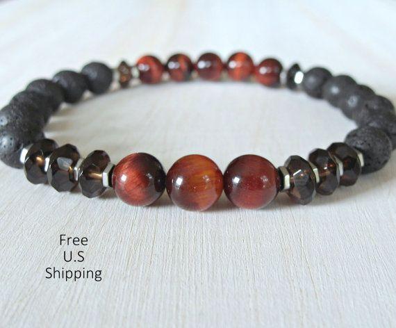 Men's Smokee Quartz, Red Tiger eye, Lava, tribal bracelet, Mala bracelet, tiger eye bracelet, Reiki, Tiger eye bracelet, lava bracelet