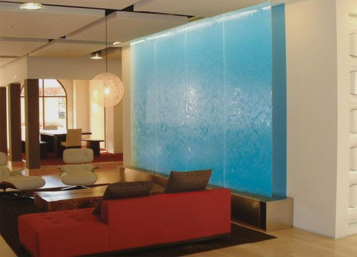 Interior Extraordinary Indoor Fountains And Waterfalls Red Sofas Modern Blue Waterfall Design