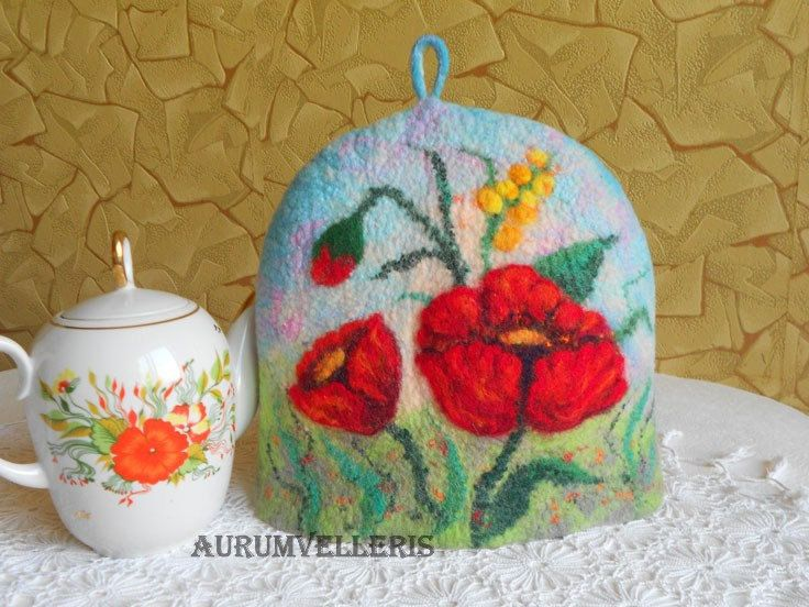 Felted Tea Cosy Felt Red Poppy Wool Coffee Pot Teapot Warmer Cover Contemporary Cozy