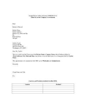 Broker Of Record Letter Http Www Valery Novoselsky Org Broker