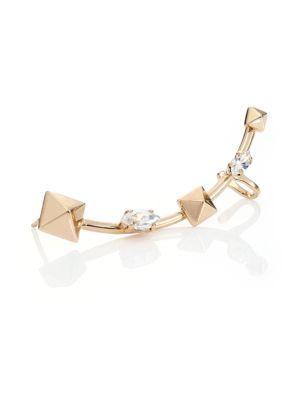 VALENTINO Swarovski Crystal & Pyramid Single Ear Cuff. #valentino #cuff