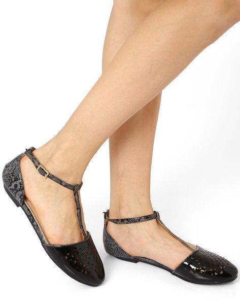 Buy BLACK AJIO T-Strap Flat Shoes