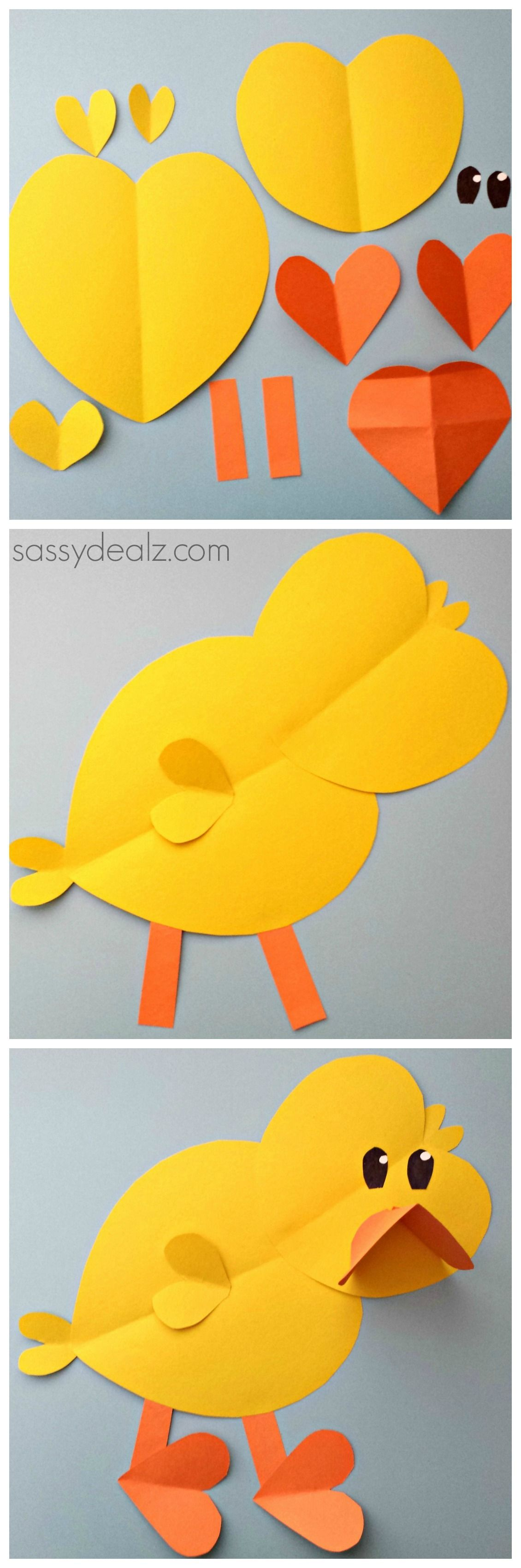 Chick craft for kids made out of paper hearts art project diy