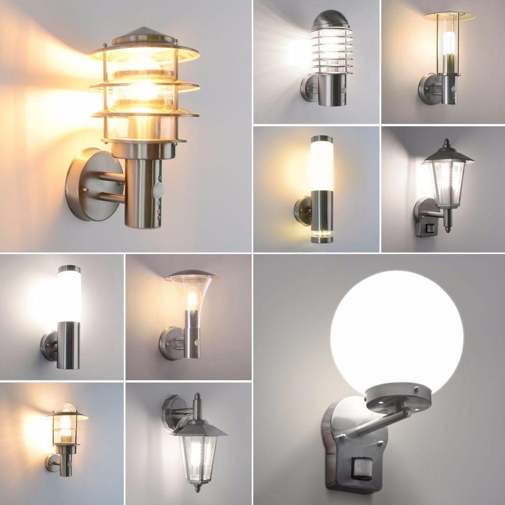 au enlampe au enleuchte garten led e27 wandleuchte edelstahl lampe gartenlampe in heimwerker. Black Bedroom Furniture Sets. Home Design Ideas