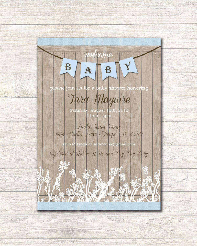 Printable Rustic Baby Shower Invitation (boy) -- sarah O chic ...
