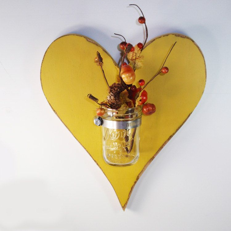 SALE-Handcrafted Wooden Heart wall Vase- Mason Jar Vase-Yellow ...