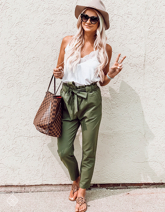 White Cami & Army Green Crop Pants Wearing size Top & Pants: S