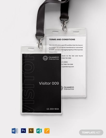 Professionally Designed/ Written Free Visitor Badge ID Card Template Template - Easily Download, Edit & Print in Illustrator (ai), MS Word (doc), Pages (pages), Photoshop (psd), Publisher (pub)