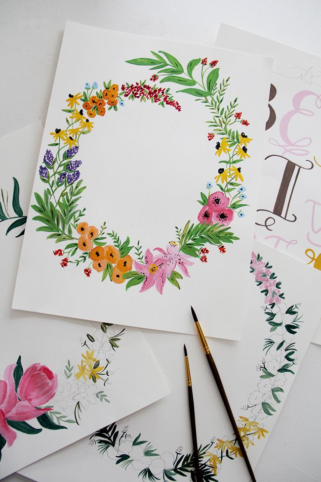 Floral Wreath Painting Acrylic