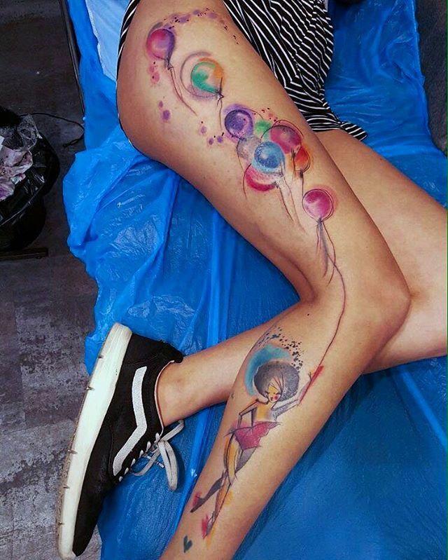Simonablanar Leg Tattoos Hip Tattoos Women Balloon Tattoo
