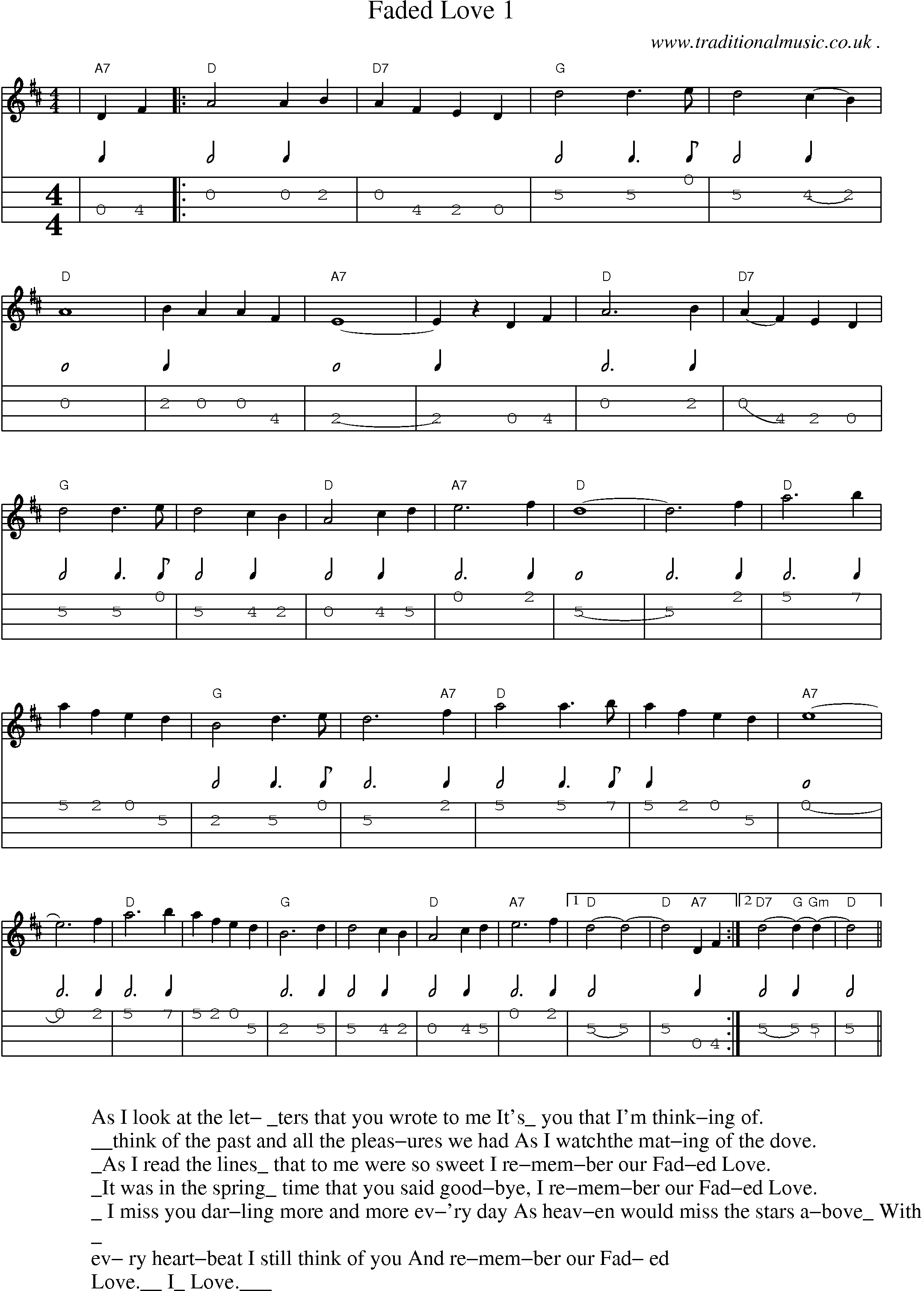 Music Score And Mandolin Tabs For Faded Love 1 Music In 2019
