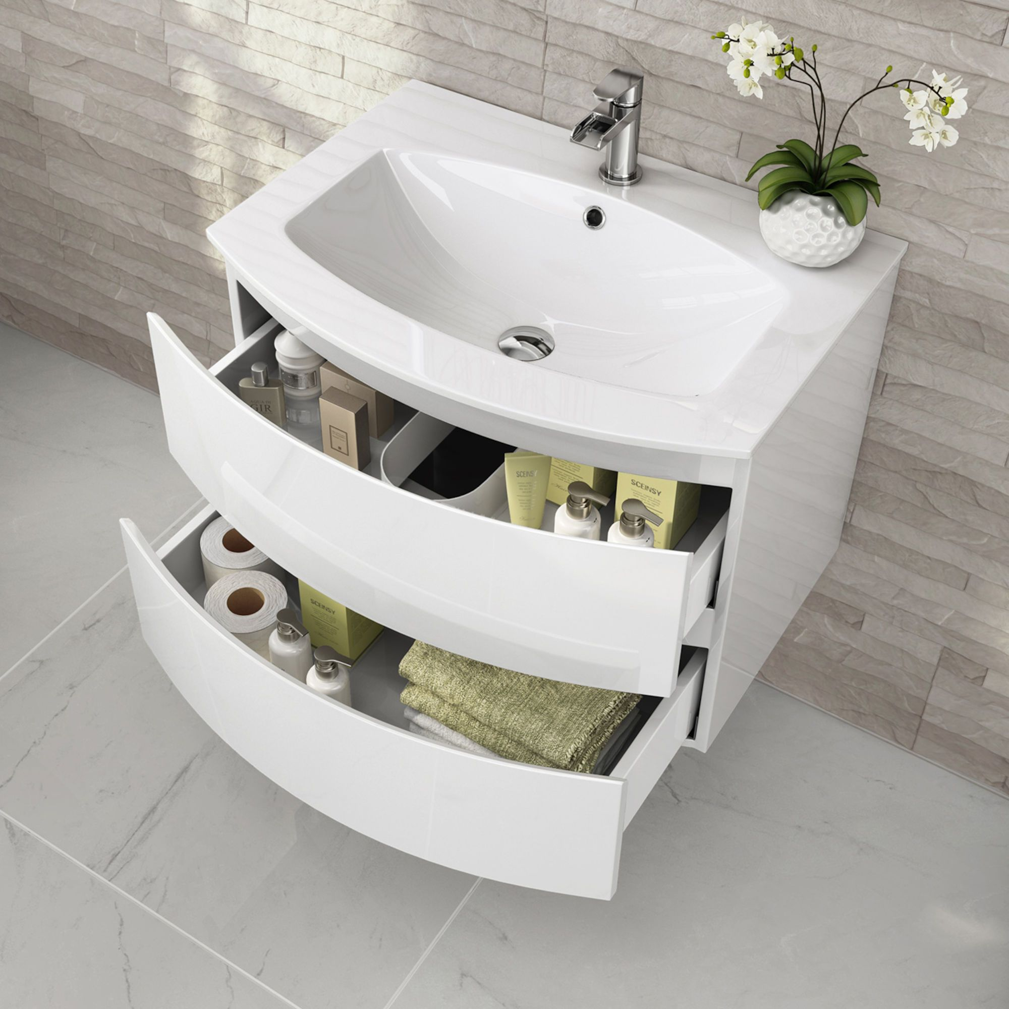 700mm Amelie High Gloss White Curved Vanity Unit Wall Hung Soak Com Bathroom Design Small Vanity Units Modern Bathroom Sink
