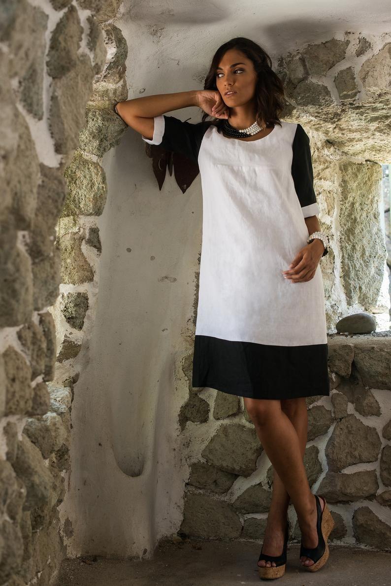 Italian linen tunic dress white linen maxi dress womens