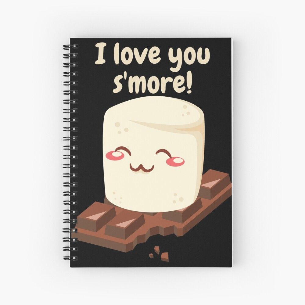 'I Love You S'more Cute Marshmallow Valentine Shirt Sticker' Spiral Notebook by rbaaronmattie
