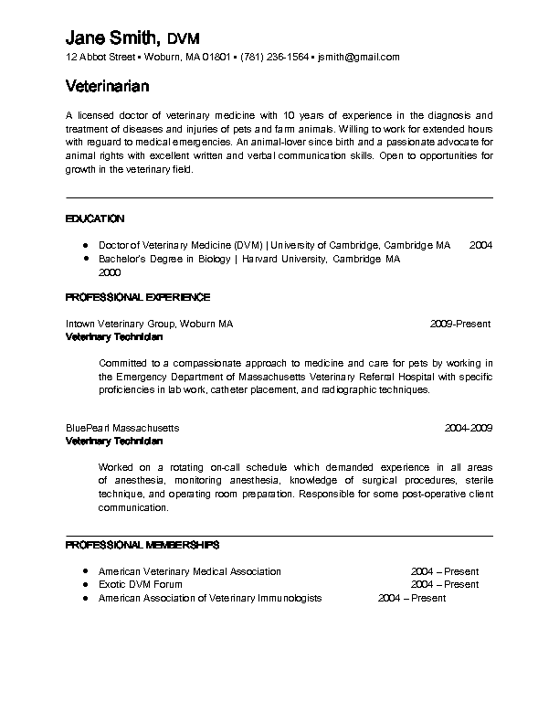 Veterinary Doctor Resume Format Pinterest Resume Format And Resume