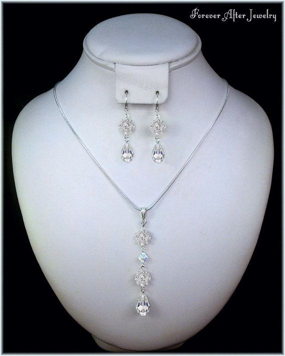 Modern Crystal Drop Necklace and Earrings by ForeverAfterBridal, $34.00