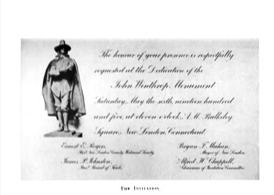Invitation to the Unveiling Ceremony May 6 1905 New London - invitation unveiling