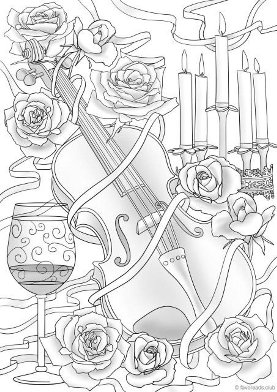 Violin And Flowers Printable Adult Coloring Page From Favoreads