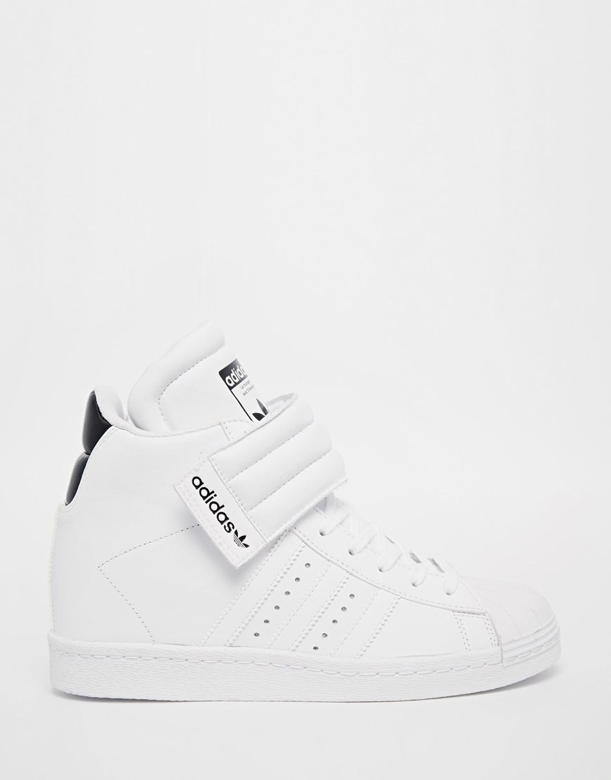 8b2585f3f37bd5 adidas Originals Superstar High Top White Sneakers