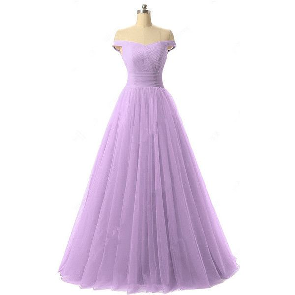 Princess Off The Shoulder Tulle Floor Length Ruffles Lavender Prom... ($139)