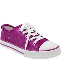 Girls Glitter-Canvas Sneakers