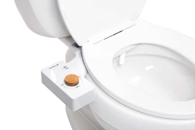 Product Tushy Classic White / Bamboo on toilet side