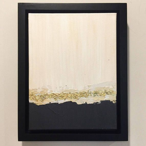 Simple and elegant gold, white, and black abstract painting with ...