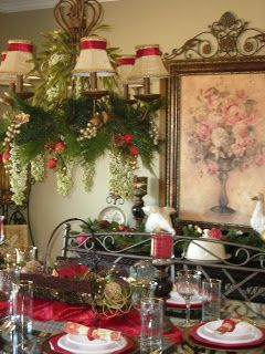 Christmas entertaining christmas a little chic pinterest love the red ribbon on the top of the chandelier shades love the greenery dangling from the chandelier as well aloadofball Gallery