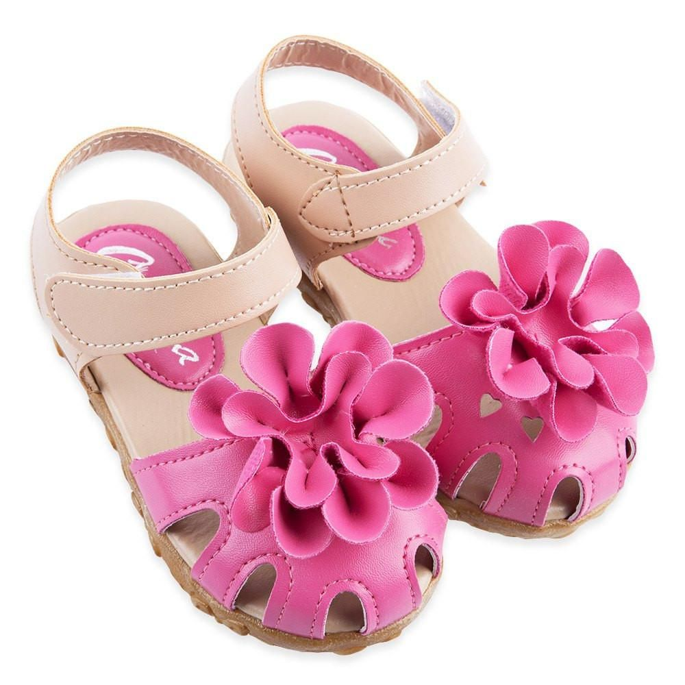 Girls Sandals Flower Shoes Kids Toddler Jelly Flat Shoes Soft Leather Children