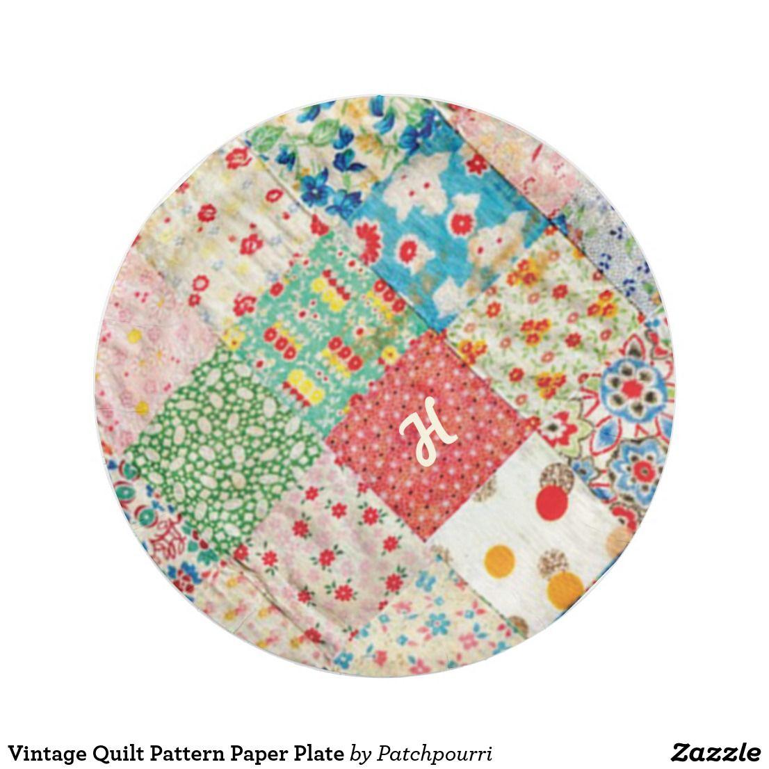 Vintage Quilt Pattern Paper Plate  sc 1 st  Pinterest & Vintage Quilt Pattern Paper Plate | Vintage quilts patterns