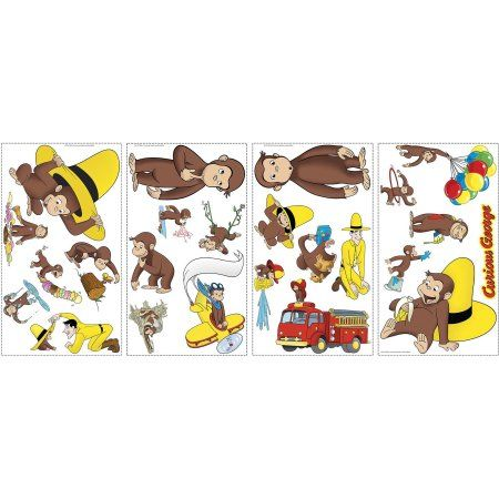 RoomMates Curious George Peel and Stick Wall Decals, Multicolor