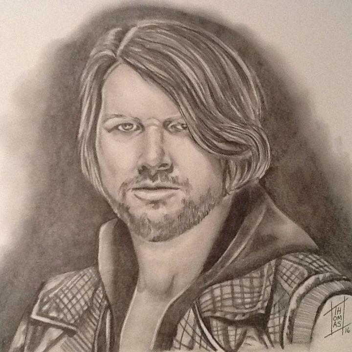 Titre: AJ Styles Artist: Nancy Thomas Size: 9x12 Médium: Graphite 2B ...