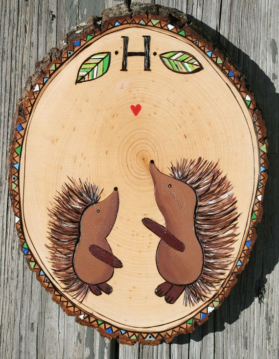 Original CUSTOM porcupine HEDGEHOG wood burned Nursery Art wall ...